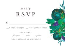 Flowers Gold Flakes RSVP - RSVP card