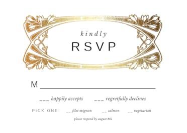 Gold Foil Roses - RSVP card