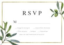 Golden frame & olive leaves - Tarjeta De Confirmación De Asistencia A Eventos