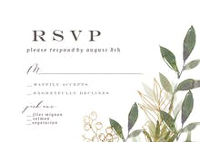 Green Watercolor Leaves - RSVP card