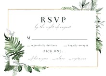 Greenery and Gold Frame - RSVP card