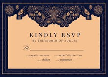 Indian paisley & birds - RSVP card