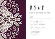 Ornate wedding RSVP - RSVP card