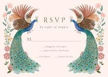 Peacocks & flowers RSVP - Tarjeta De Confirmación De Asistencia A Eventos