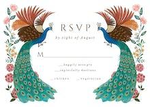Peacocks & flowers RSVP - RSVP card