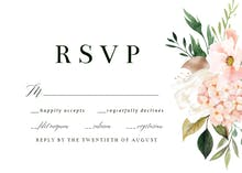 Pink Botanical Wreath - RSVP card