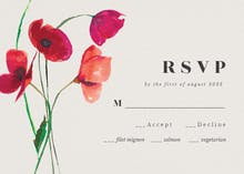 Red poppies - RSVP card