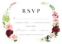 Romantic Roses Wreath - RSVP card