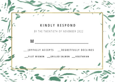 Rushed flakes - Printable Response card Template