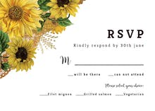 Rustic Sunflowers - RSVP card