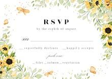 Sunflowers & Butterflies - RSVP card