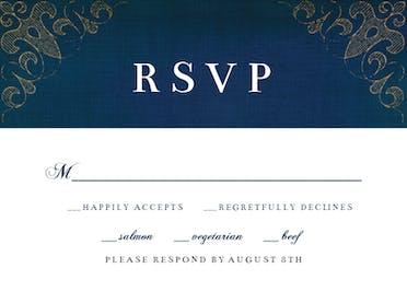 Swirls & Frames Blue RSVP - RSVP card