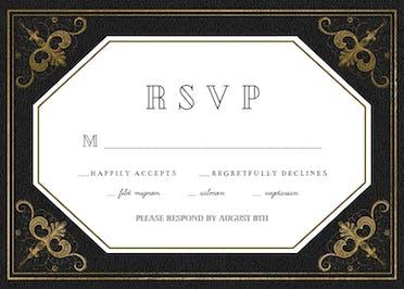 Swirls and Frames Black RSVP - RSVP card