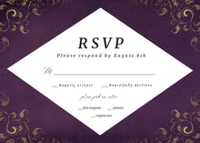 Swirls and Frames Purple - RSVP card
