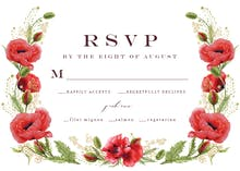 Whimsical poppies - RSVP card