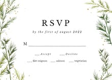 Winter greenery - RSVP card