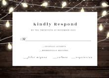 Wood and string lights - RSVP card