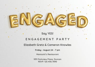 Alphabet Balloons - Engagement Party Invitation