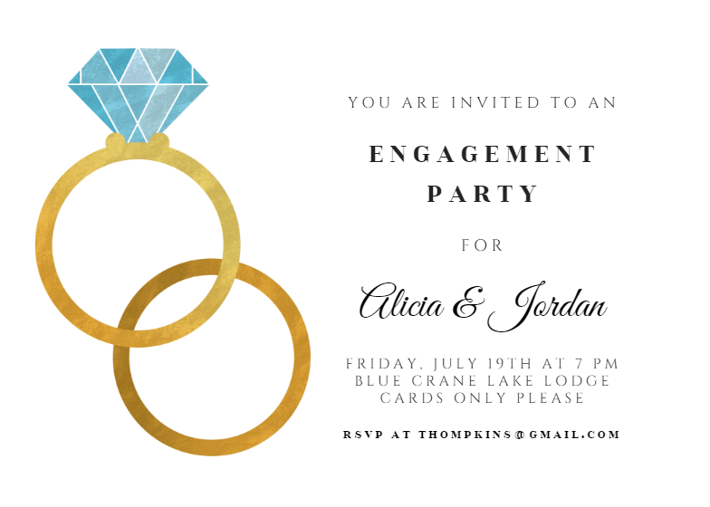big rings  engagement party invitation template free