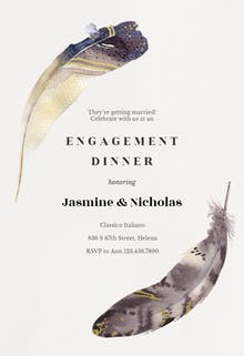Boho Feathers - Engagement Party Invitation