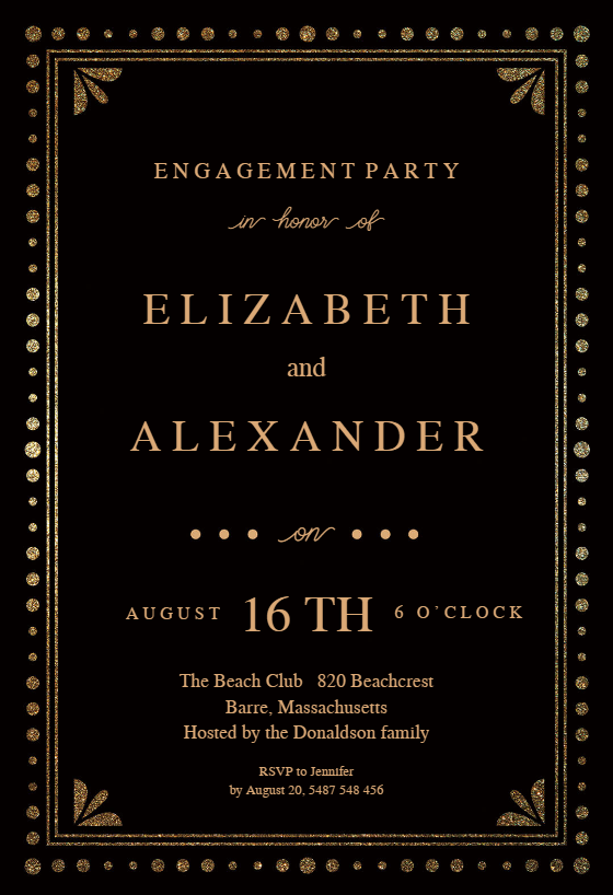 Fancy Night   Engagement Party Invitation Template  Engagement Party Templates