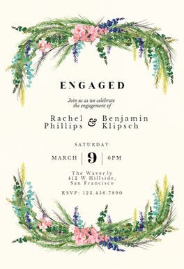 Floral pine - Engagement Party Invitation