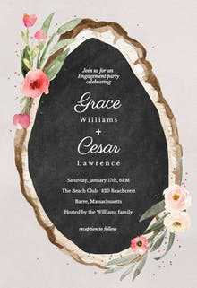 Floral wood slice - Engagement Party Invitation