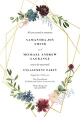Geometric & Flowers - Engagement Party Invitation