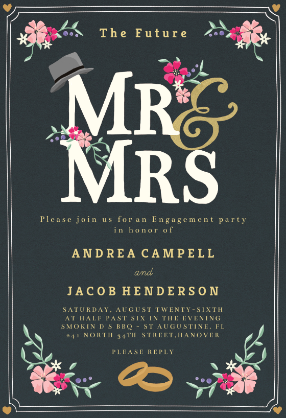 New Titles Engagement Party Invitation Template Free