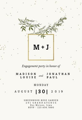 Olive leaves - Engagement Party Invitation