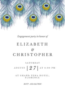 Peacock Feather - Engagement Party Invitation