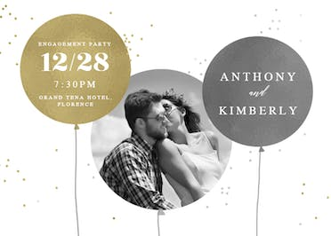 Surrealism balloons - Engagement Party Invitation