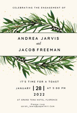 Winter Wreath - Engagement Party Invitation