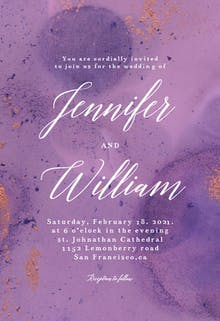 Abstract purple watercolor - Wedding Invitation