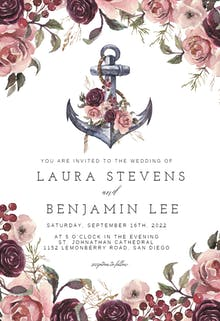 Anchor And Floral Frame - Wedding Invitation