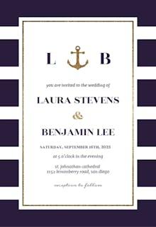 Anchor And Stripes - Wedding Invitation