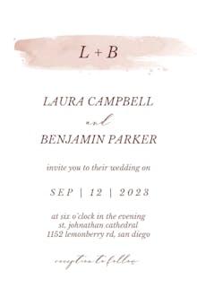 Beige Watercolor Splash - Wedding Invitation