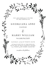 Black Ink leaves - Wedding Invitation