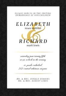 Black Victorian Frame - Wedding Invitation