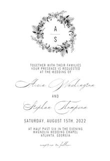Black White Wreath - Wedding Invitation