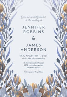 Blue and mustard florals - Wedding Invitation