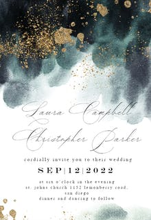 Blue Paint and Gold - Wedding Invitation