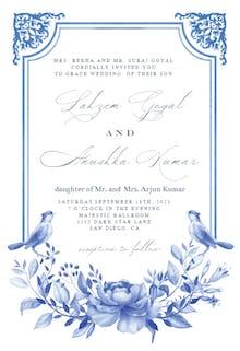 Blue Watercolor Ornaments - Wedding Invitation