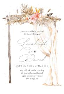 Boho Flowers Canopy - Wedding Invitation