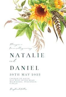 Boho sunflowers - Wedding Invitation