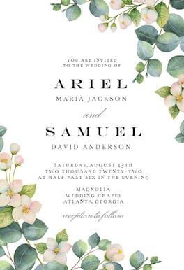 Botanical & White Flowers - Wedding Invitation
