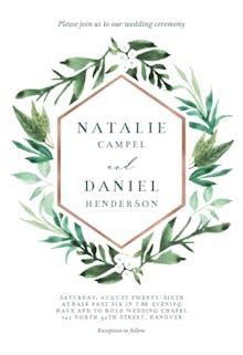Botanical hexagon - Wedding Invitation