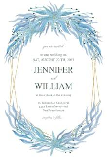 Botanical ocean polygon - Wedding Invitation