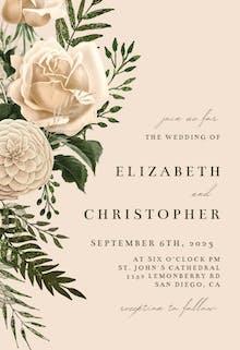 Cream Bouquets - Wedding Invitation