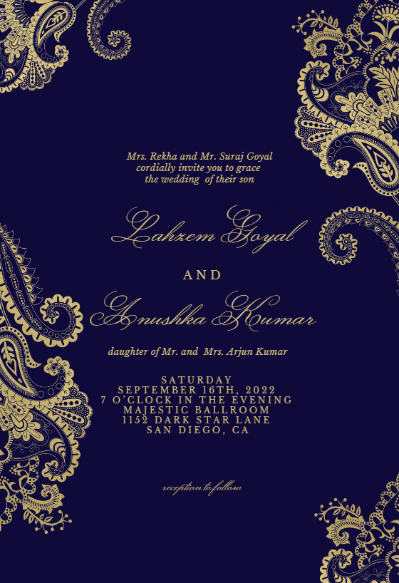 Elegant Henna Wedding Invitation Template Free